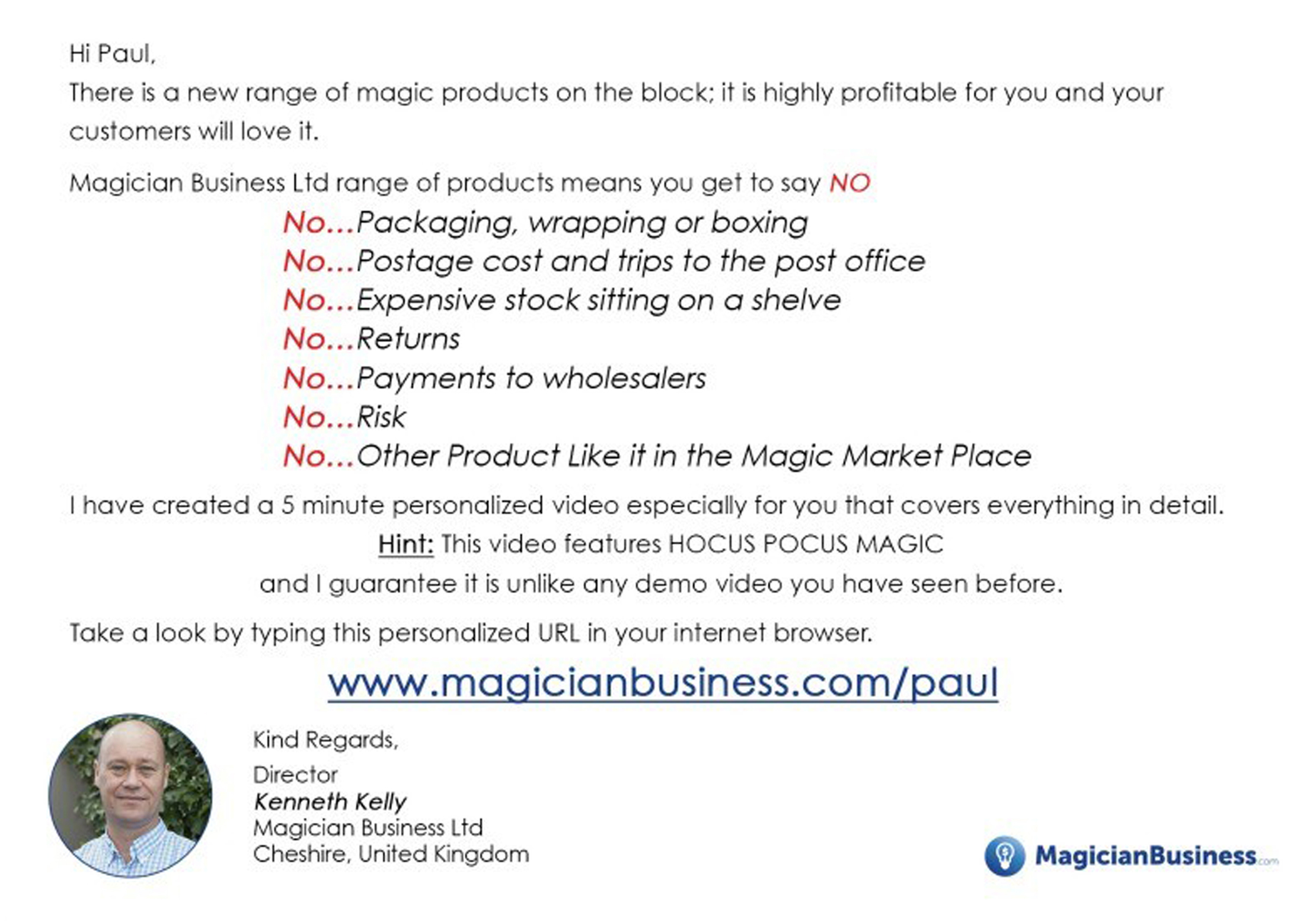 Magician Business Affiliate Postcard Back